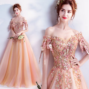 Lovely Orange & Pink Embroidered Princess Gown