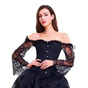 Wechery Steampunk Corset Vest with Attached Lace Long Sleeves (Black or Red)