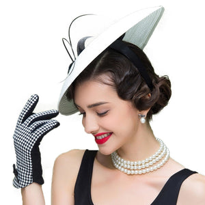 Elegant Lady's Black And White Fascinator