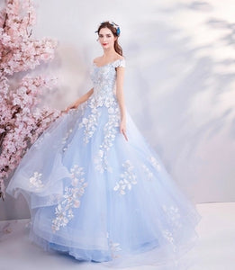 Ice Blue Elegantly Embroidered Court Dress