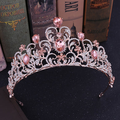Stunning Rose Gold or White Gold & Colorful Crystal Bridal Crown / Party Tiara (Multiple Colors)