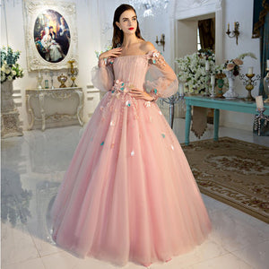 Pink Off-the-Shoulder Lantern Sleeve Renaissance Ball Gown