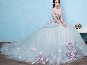 Fairy Tale Beauty - 3D Floral Prom Gown