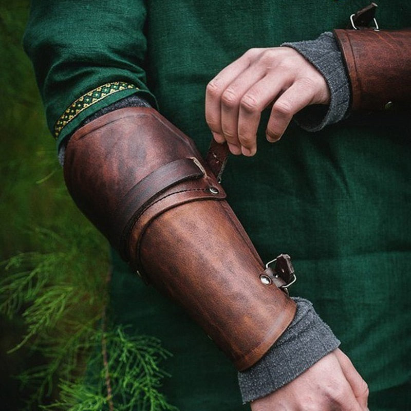 Pair Cosplay Faux Leather Wide Bracer / Medieval Gauntlet Wristband