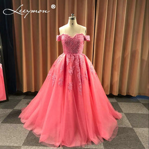 Off Shoulder Beaded Lace & Tulle Evening Gown (Custom made in many colors)