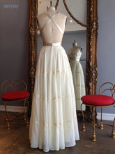 Custom Made: Summer Beach Wedding Dresses (Multiple Colors) Plunge V-Neck with Ribbon Straps and Belt Accents