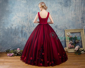 Flower Embellished Burgundy Red & Black Veiled Ball Gown