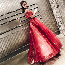 Eye-catching Ruffled Off-the-Shoulder Glitter & Stars Prom Gown (Red, Blue or Black)