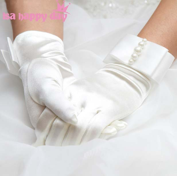 White / Ivory Bridal Gloves with Pearl Embellishments