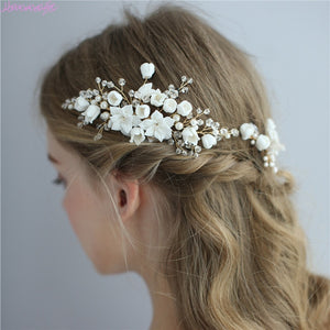 Handmade Delicate Porcelain Flower Bridal / Prom Hair Combs or Hair Pins