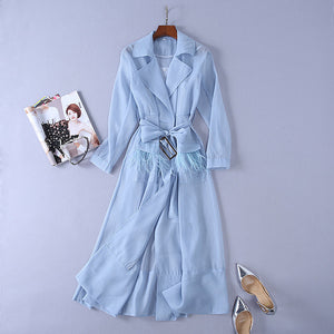Summer European Runway Organza Turn-down Collar Trench Coat with Feathers & Tassel Belt