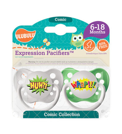 Huh?! & Whap!!! Pacifiers 6-18M Pacifiers (Double Pack)