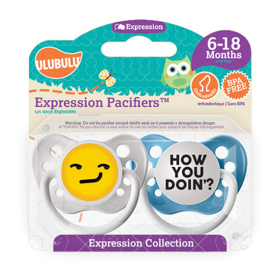 How you Doin' Emoji 6-18M Pacifiers (Double Pack)