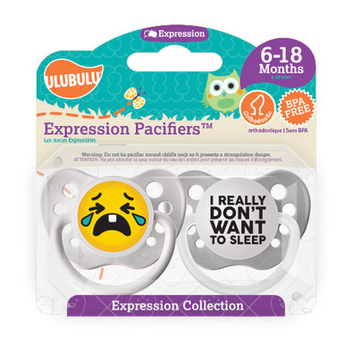 I really don't want to sleep Emoji 6-18M Pacifiers (Double Pack)