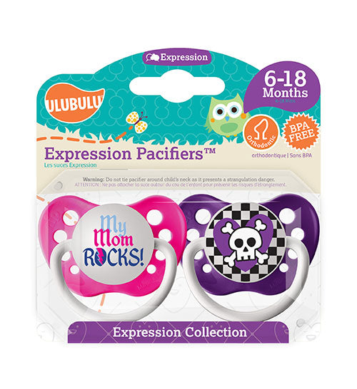 My Mom Rocks & Purple Skull 6-18M Pacifiers (Double Pack)
