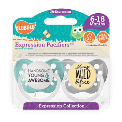 Handsome, Young and Awesome & Young, Wild and Free 6-18M Pacifiers (Double Pack)