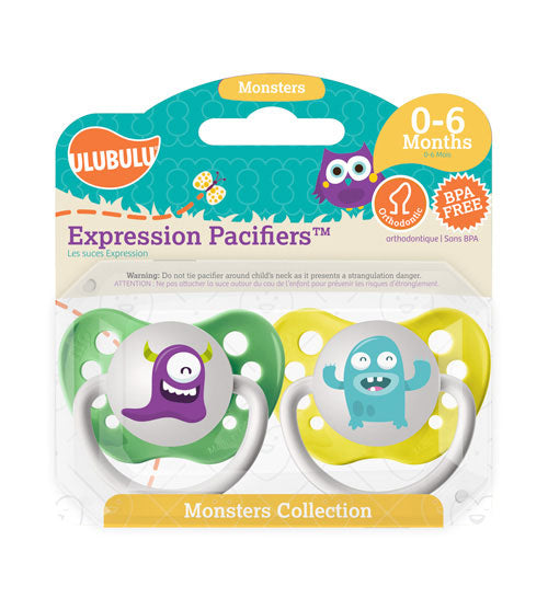 Purple & Light Blue Monsters 0-6M Pacifiers (Double Pack)