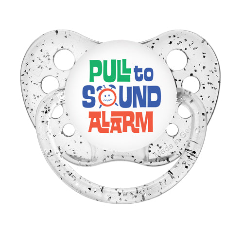 Pull to Sound Alarm - Glitter Clear Pacifiers