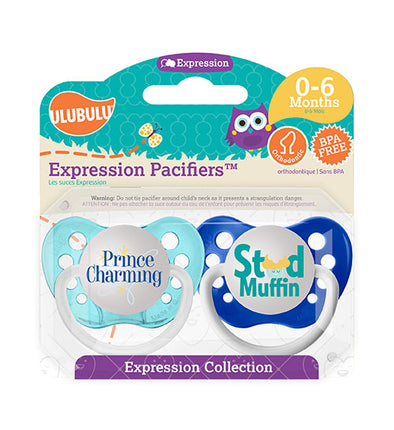 Prince Charming & Stud Muffin 0-6M Pacifiers (Double Pack)