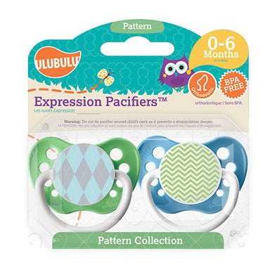 Blue Argyle & Green Chevron 0-6M Pacifiers (Double Pack)