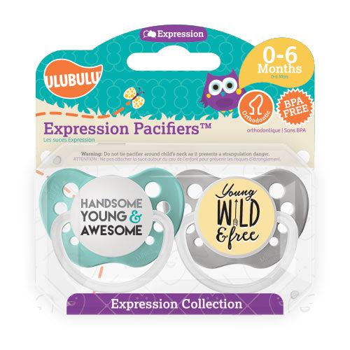 Handsome, Young and Awesome & Young, Wild and Free 0-6M Pacifiers (Double Pack)
