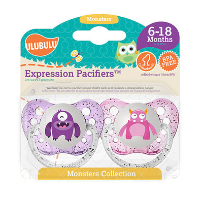 Purple & Light Pink Monster 6-18M Pacifiers (Double Pack)