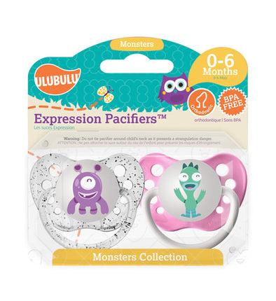 Purple & Teal Monster 0-6M Pacifiers (Double Pack)