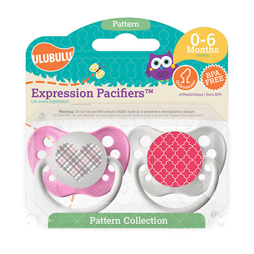 Pink Plaid Heart & Pink Moroccan Pattern 6-18M Pacifiers (Double Pack)