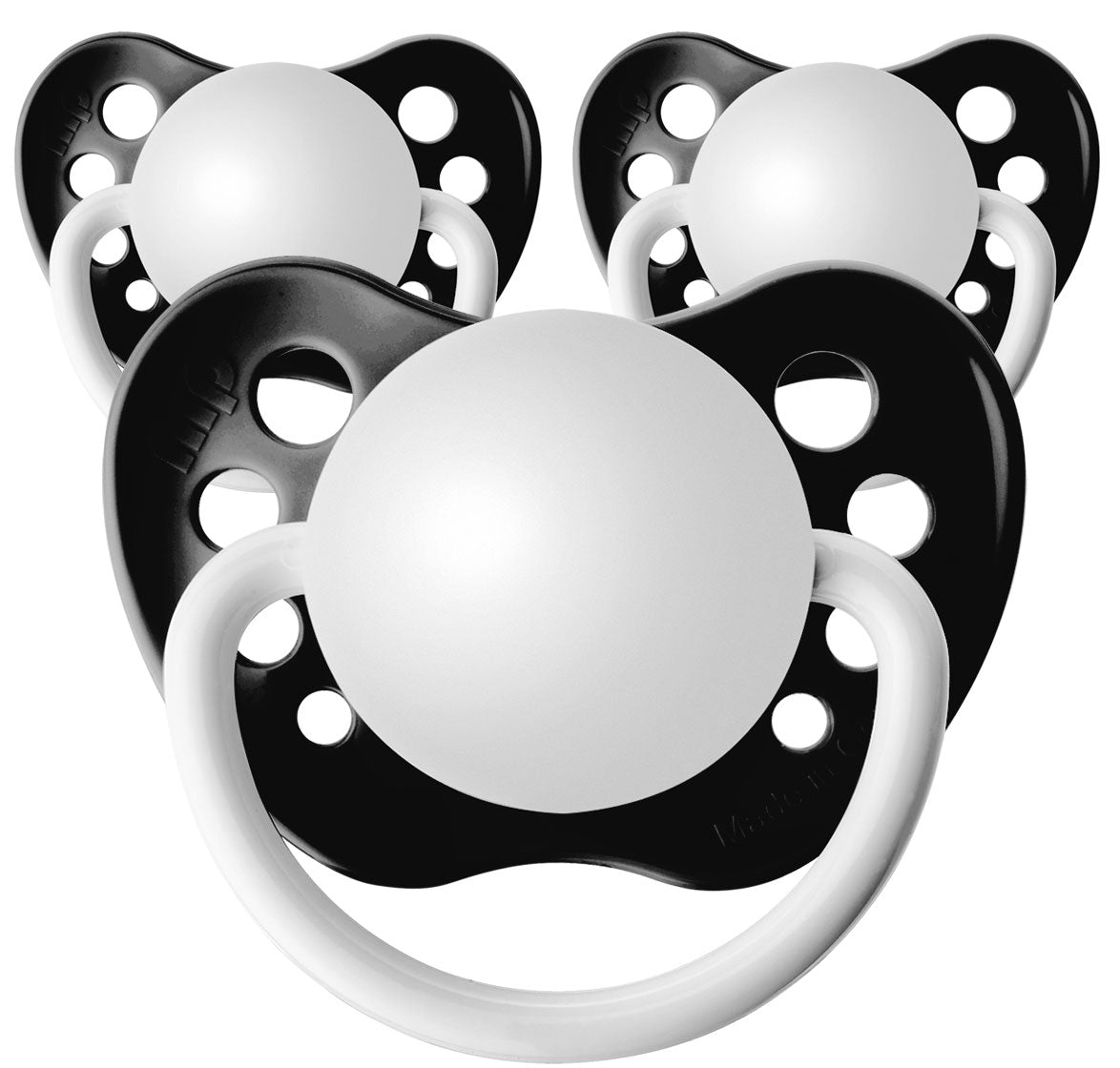 Black Personalized Pacifiers 3 Pack - Caveat Brush (English) / 0-6 M
