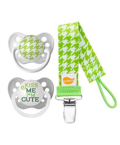 Hounds Tooth & Kiss Me Pacifier With Green Hounds Tooth Bundle