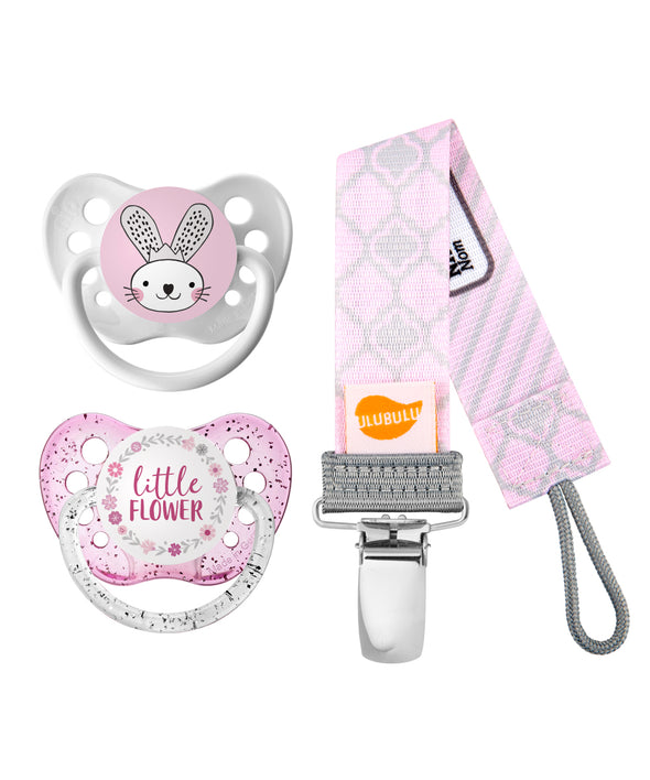 Bunny w/Crown & Little Flower w/ Flower Ring Pacifiers and Pink Moroccan Pacifier Clip Bundle