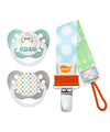 Egg Head & Easter Dots Pacifiers and Blue Polka Dots Pacifier Clip Bundle