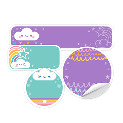 Cloud Rainbow Daycare Labels