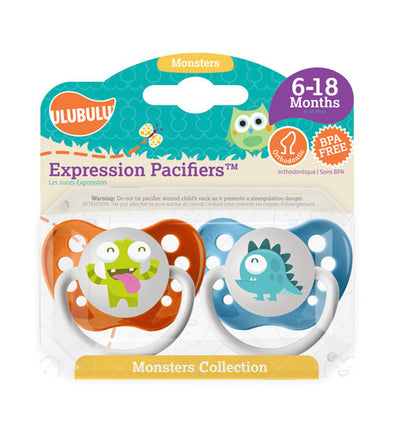 Green & Blue Monster 6-18M Pacifiers (Double Pack)