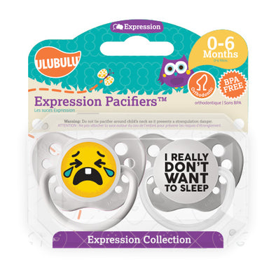 I really don't want to sleep Emoji 0-6M Pacifiers (Double Pack)