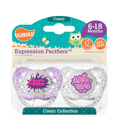 OMG & Blah Blah Pacifiers 6-18M Pacifiers (Double Pack)