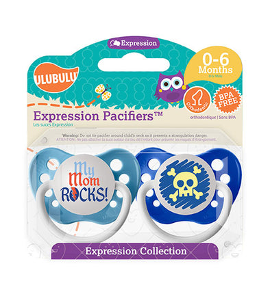 My Mom Rocks & Blue Skull 0-6M Pacifiers (Double Pack)