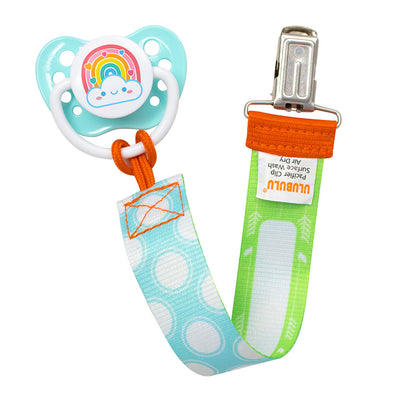 Rainbow Heart Pacifier & Blue Polka Dot Pacifier Clip Combo