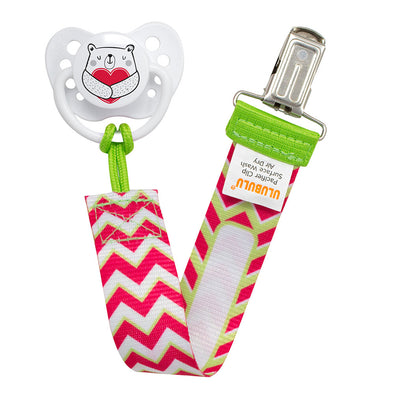 Heart Bear Pacifier & Pink Chevron Pacifier Clip Combo