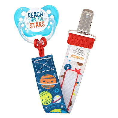 Reach for the Stars Pacifier & Solar System Pacifier Clip Combo