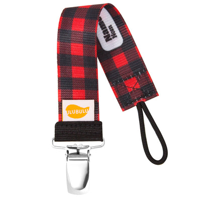 Lumber Plaid Red Pacifier Clip