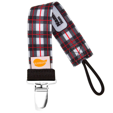 Lumber Plaid Black Pacifier Clip