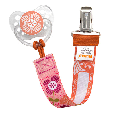 Blossom Orange Pacifier & Floral Mauve Pacifier Clip Combo