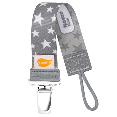 Gray Stardust Pacifier Clip