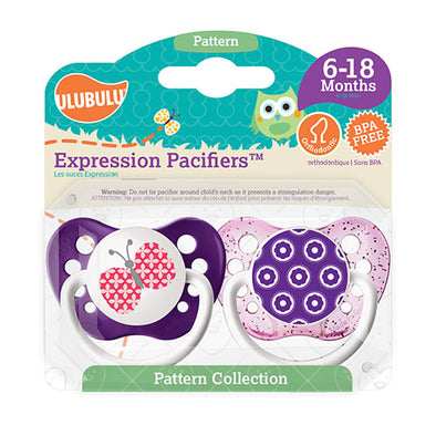 Butterfly & Flowers 6-18M Pacifiers (Double Pack)