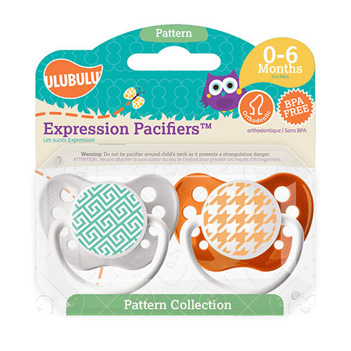 Greek Key & Houndstooth 0-6M Pacifiers (Double Pack)