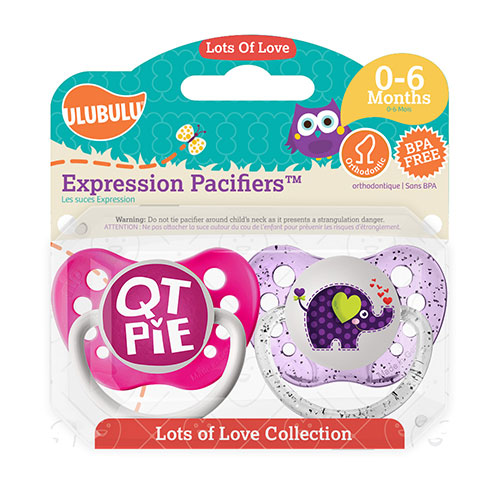 QT Pie & Elephant 0-6M Pacifiers (Double Pack)