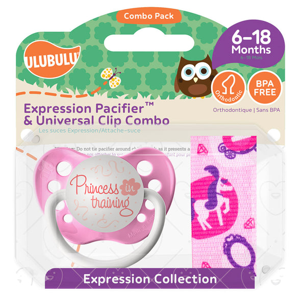 Princess in Training Pacifier & Princess Element Pacifier Clip Combo