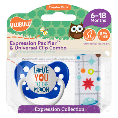 Love You to the Moon Pacifier & Mid Century Star Pacifier Clip Combo