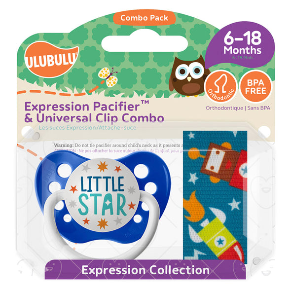 Little Star Pacifier & Robonaut Pacifier Clip Combo